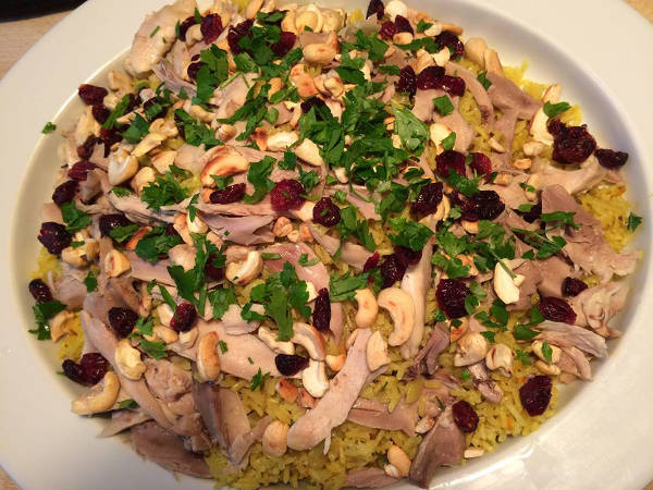 ris toppet med kylling