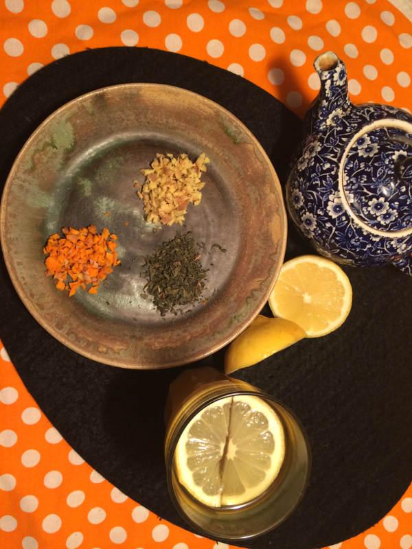 Ingefær, gurkemeje, grøn te