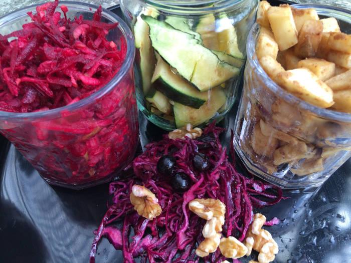 Salater til køl på glas